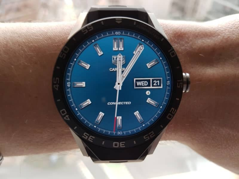 Tag Heuer Connected smartwatch three-hand blue watch face