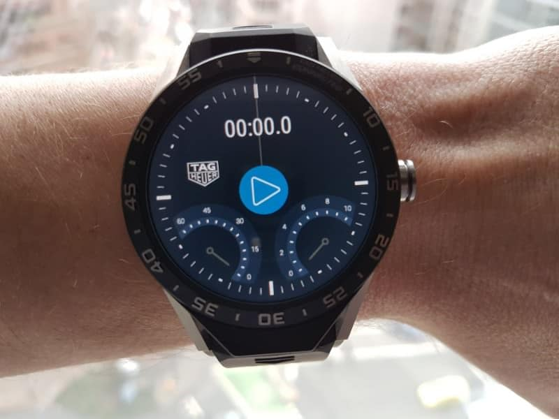 Tag Heuer Connected Smartwatch stopwatch in action