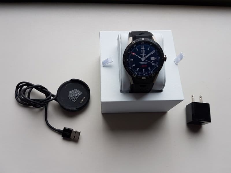 Tag Heuer Connected smartwatch components including watch and charger