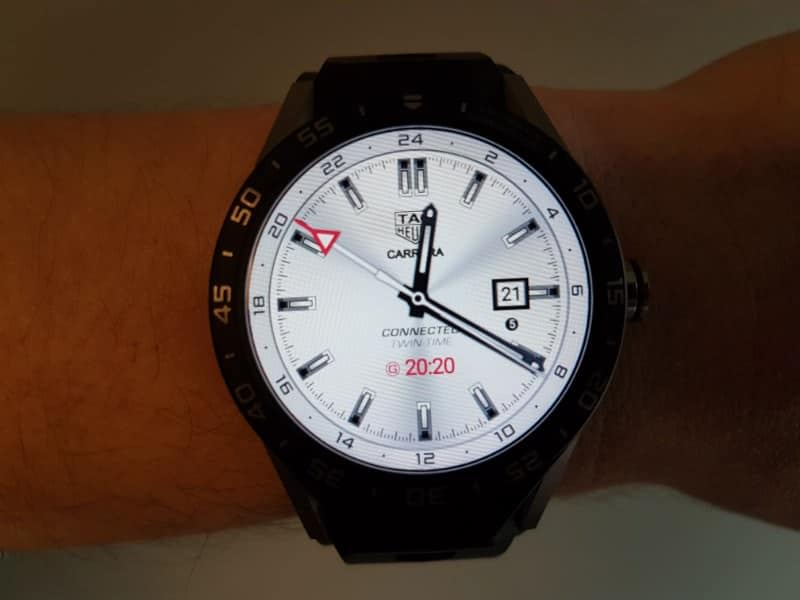Tag Heuer Connected smartwatch three-hand white watch face