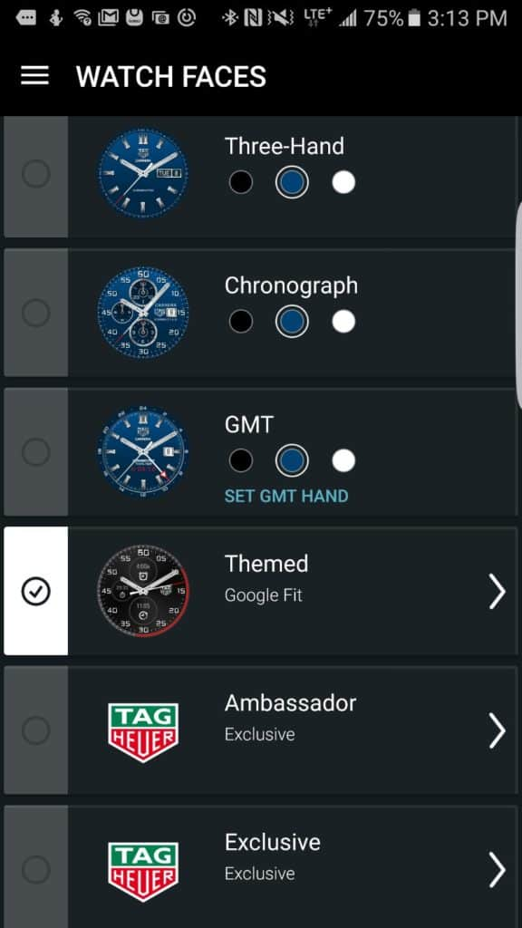 Tag Heuer Connected Smartwatch app interface