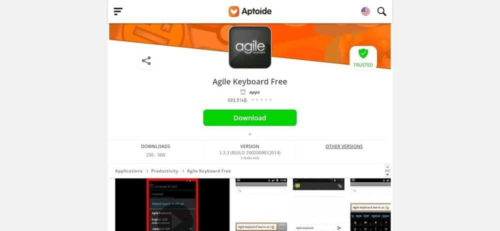 Screenshot of the Agile Keyboard App Homepage