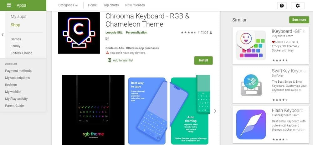 Screenshot of the Chrooma Keyboard App Homepage