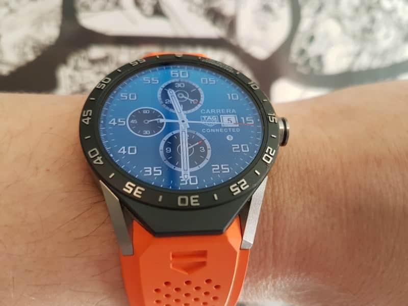 Another view of the orange strap on Tag Heuer Connected smartwatch