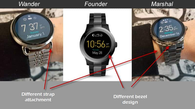Image comparing the Fossil Q Wander, Founder and Marshal