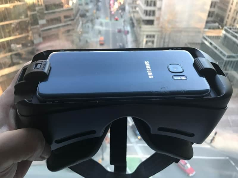 Photo of Samsung phone plugged into Samsung Gear VR