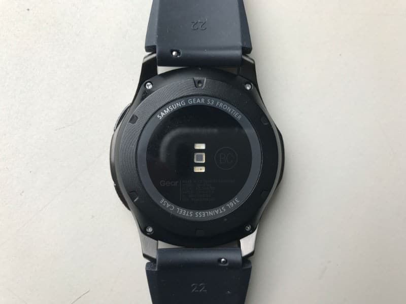 Back of the Samsung Gear S3 Frontier Smartwatch