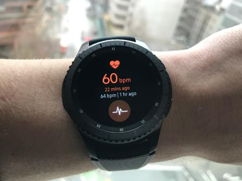 Heart rate monitor screen on the Samsung Gear S3 Frontier Smartwatch