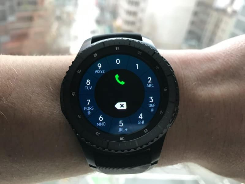 Phone screen on the Samsung Gear S3 Frontier Smartwatch
