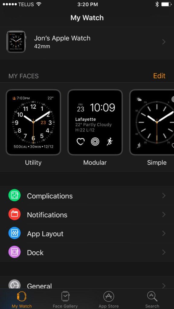 Apple Series 2 smartwatch app interface