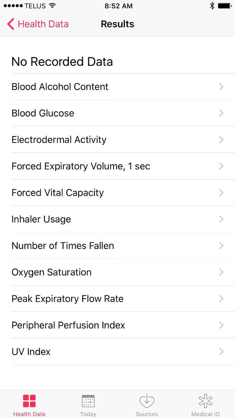 Health vitals screen on the Apple Series 2 Smartwatch app