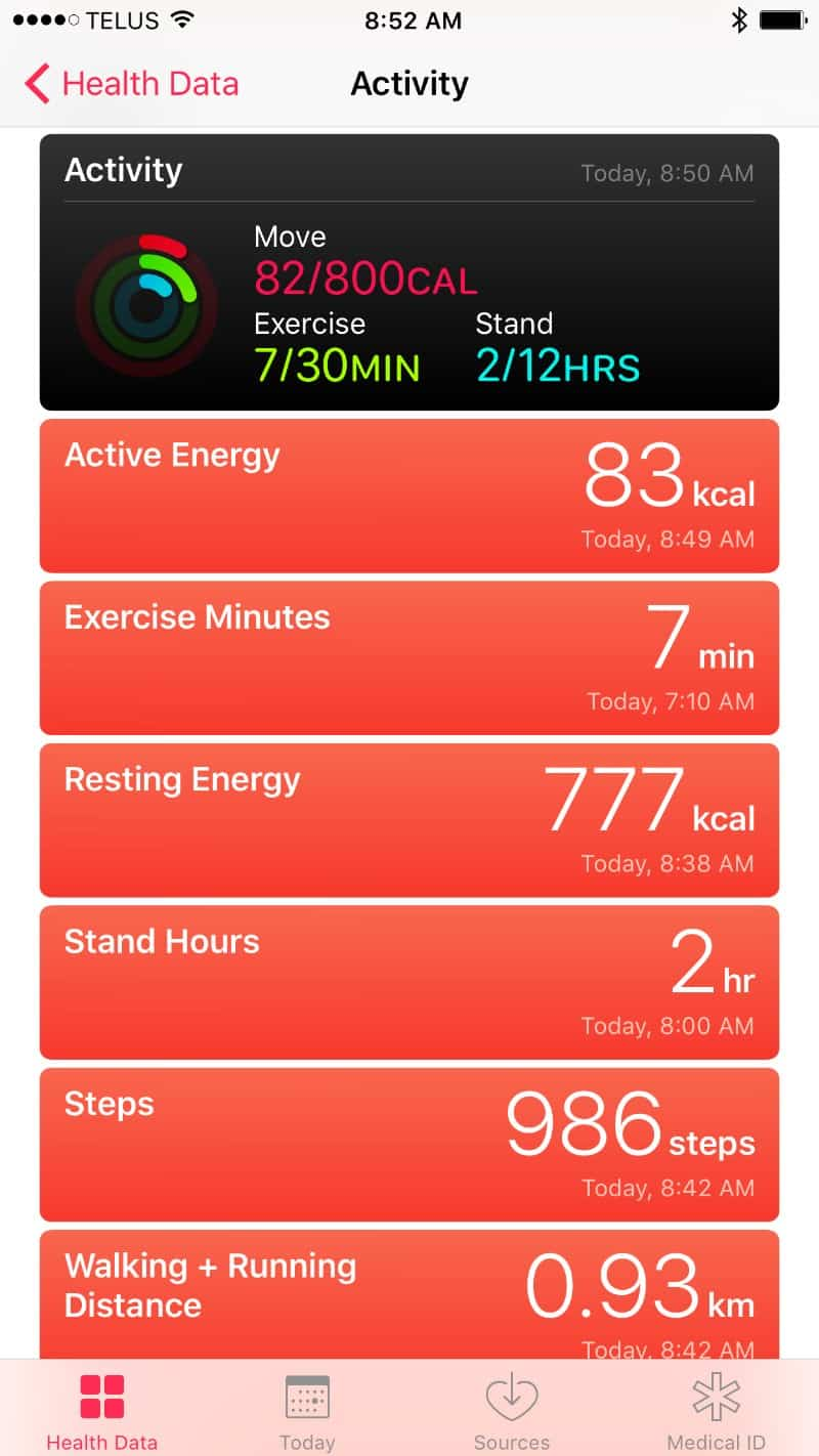 Activity screen on the Apple Series 2 Smartwatch app