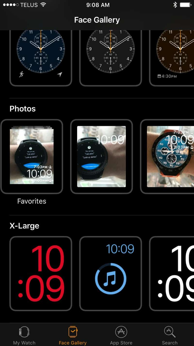 Apple 2 Series Watch watch face options screen on the app
