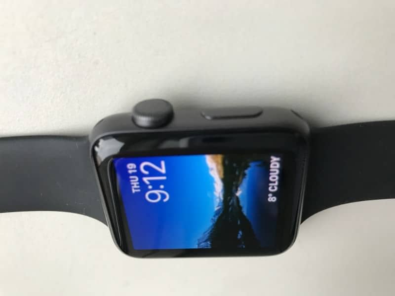 Apple Series 2 smartwatch side view of the button and dial