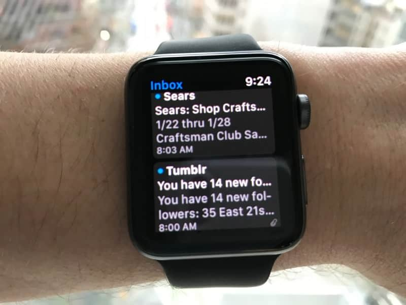 Email inbox on the Apple Series 2 Smartwatch