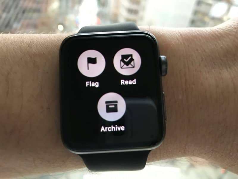 Email options on the Apple Series 2 Smartwatch