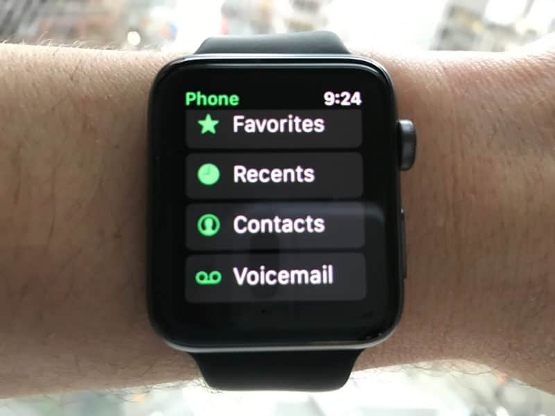 Phone options on the Apple Series 2 Smartwatch