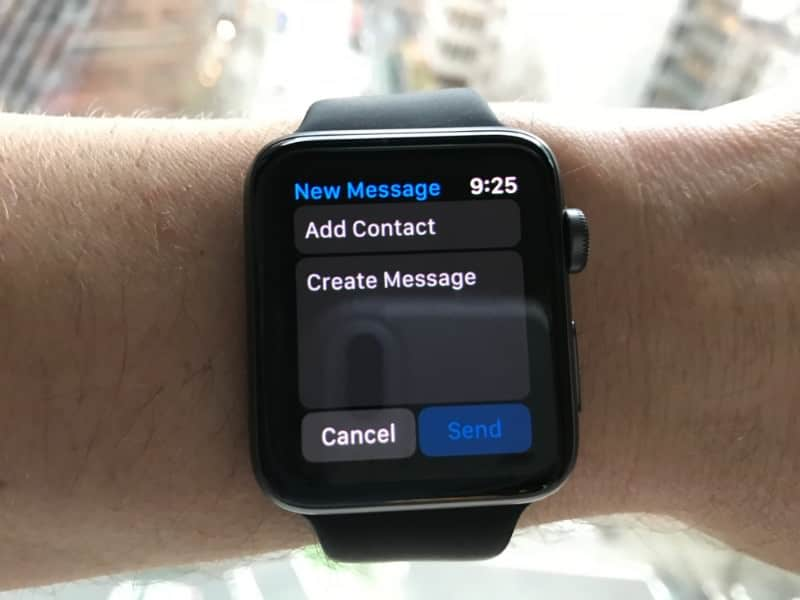 Text messaging screen on the Apple Series 2 Smartwatch