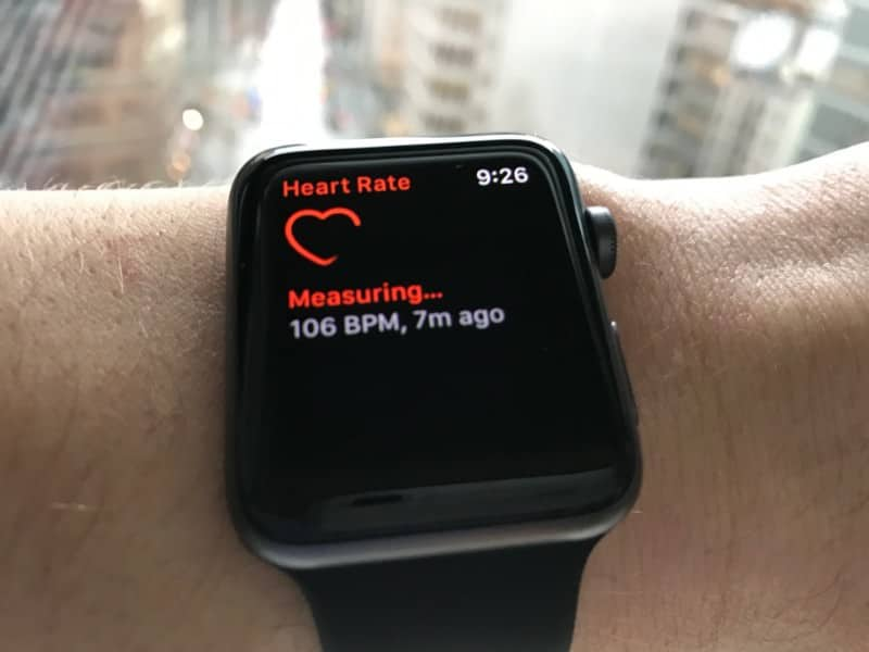 Heart rate monitor screen on the Apple Series 2 Smartwatch