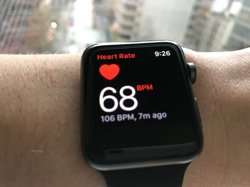 Heart rate reading on the Apple Series 2 Smartwatch
