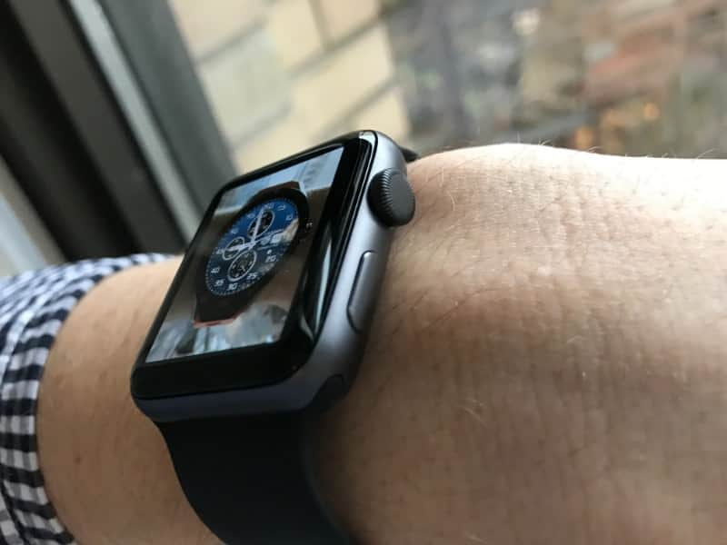 Side view of the Apple 2 Series Watch worn on wrist