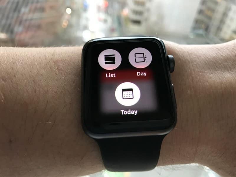 Calendar view option on the Apple Series 2 Smartwatch