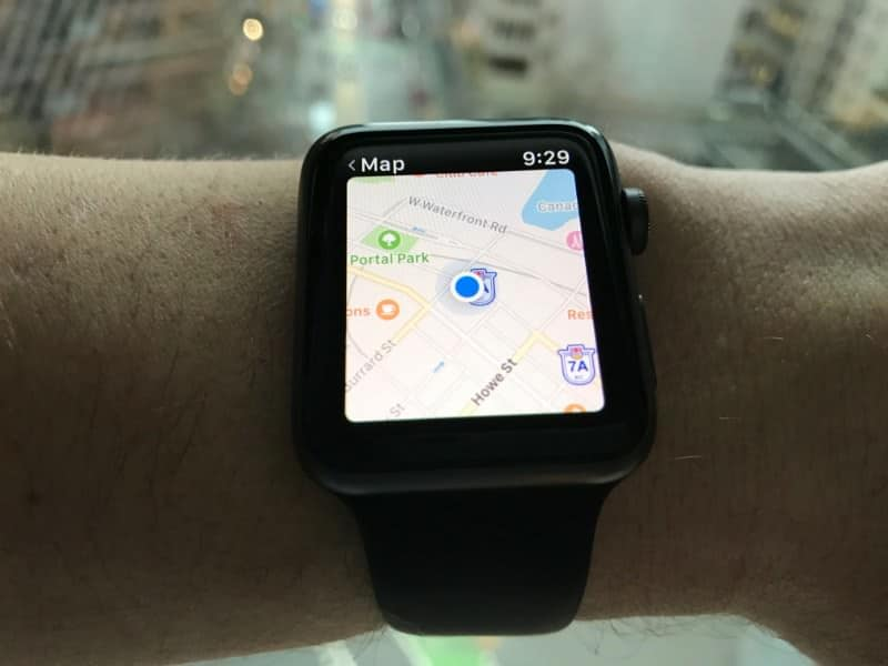 Map screen on the Apple Series 2 Smartwatch