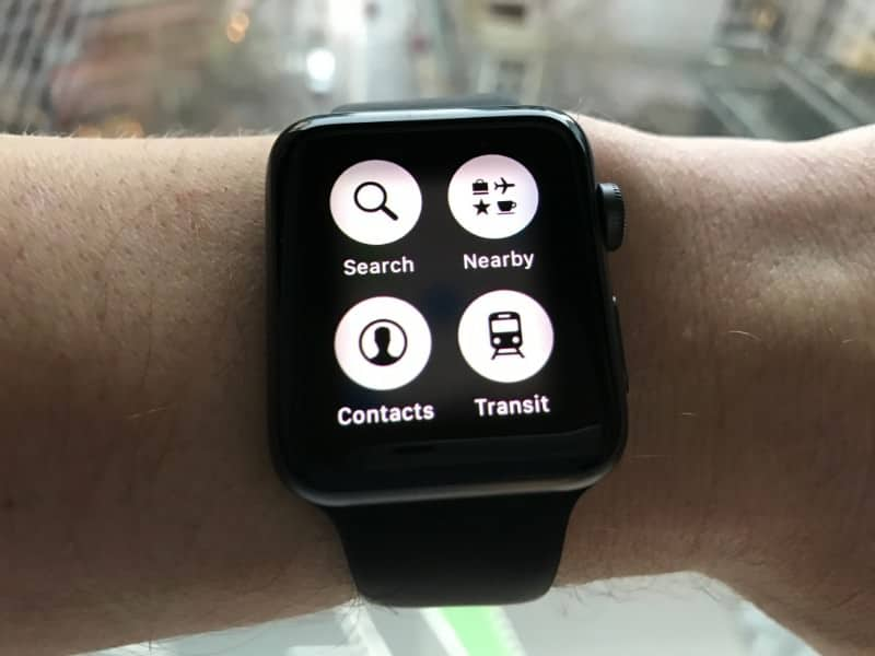GPS search screen on the Apple Series 2 Smartwatch