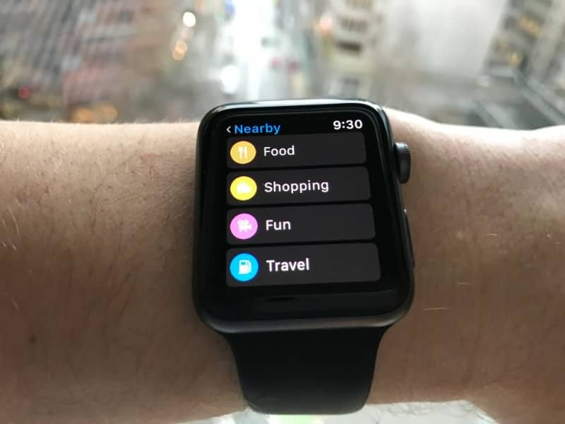 Nearby places screen on the Apple Series 2 Smartwatch