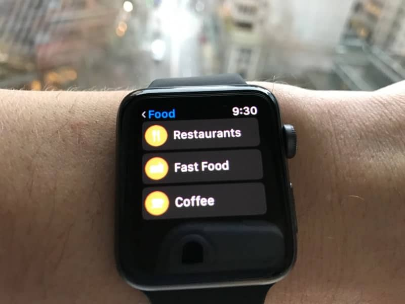 Food locations screen on the Apple Series 2 Smartwatch