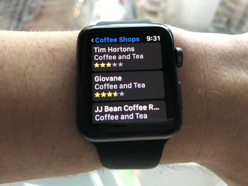 Nearby coffee shop listings on the Apple Series 2 Smartwatch
