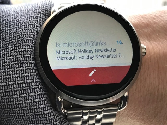 Email interface on the Fossil Q Wander smartwatch