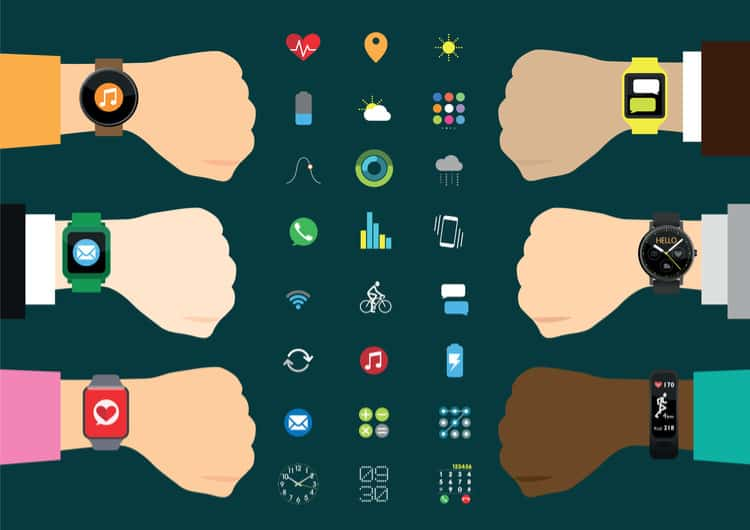 Illustration showcasing many Android Wear Smartwatches