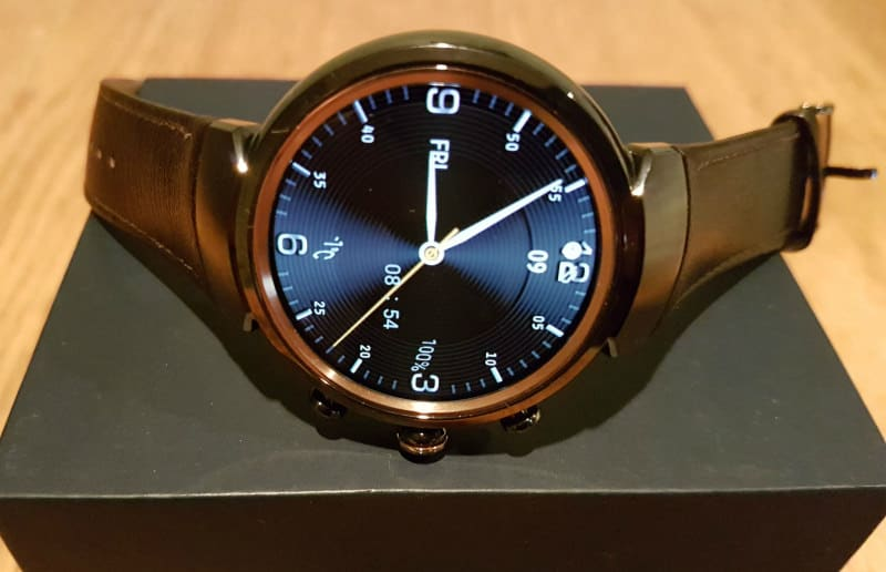 ASUS ZenWatch 3 with chocolate strap.