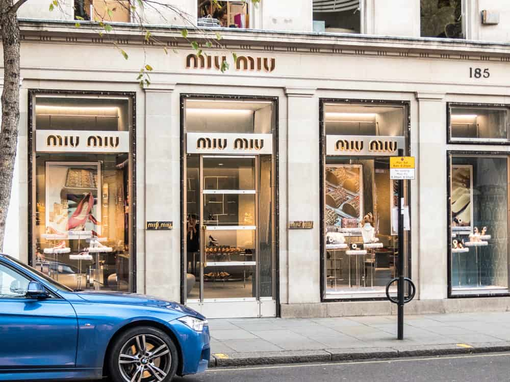 A front external view of the Miu Miu store, on Sloane street , in Knightsbridge