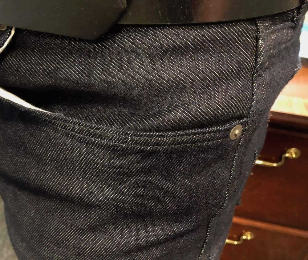 Close-up of pocket on Banana Repbulic Traveler jeans for men