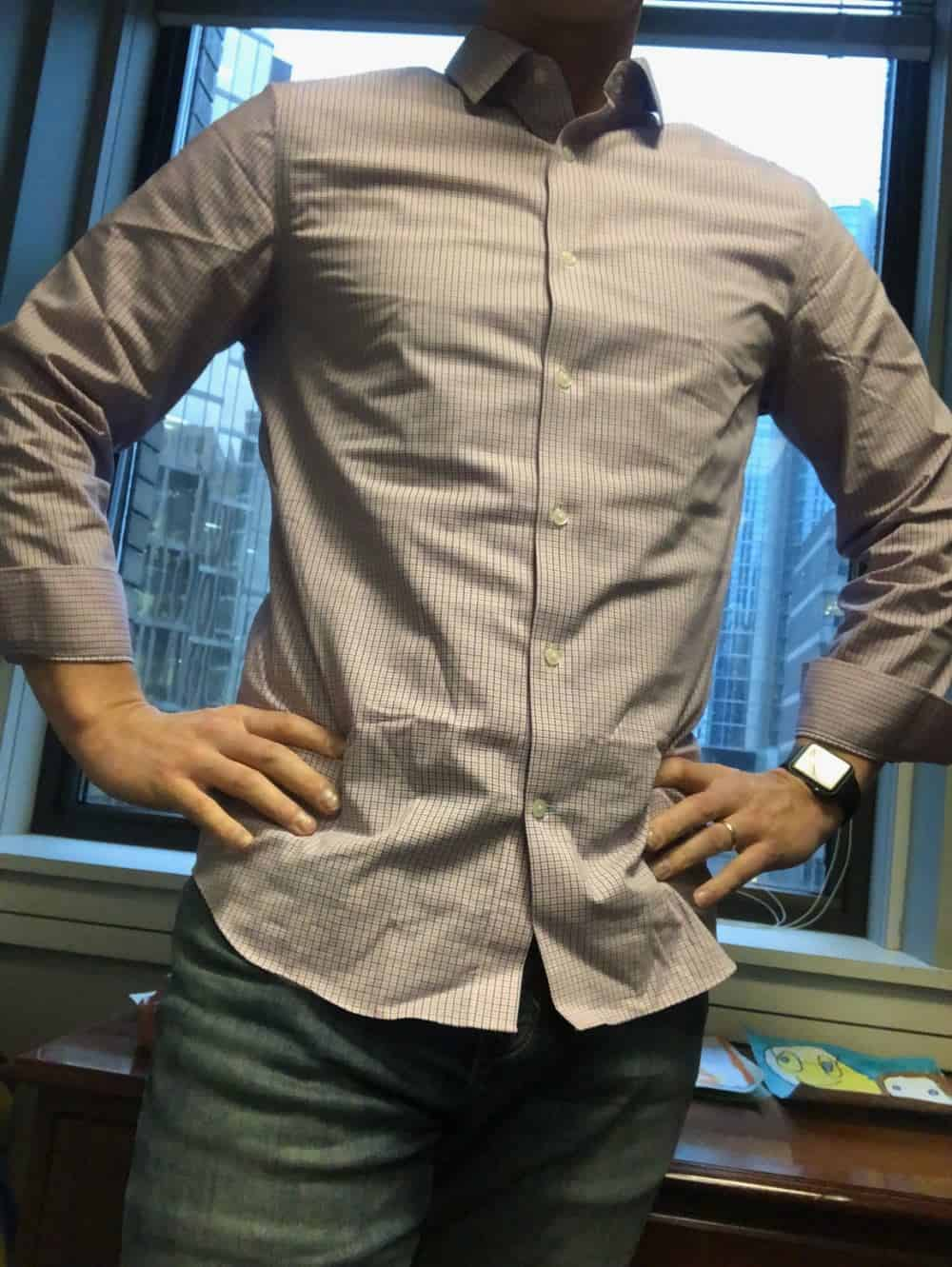 Banana Republic slim fit men's dress shirt - untucked. It's a good length for the untucked look. The jeans are BR slim fit jeans.