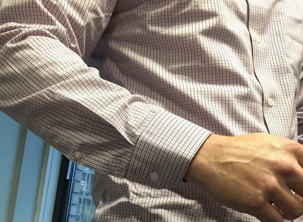 Banana Republic men's slim fit dress shirt close-up photo