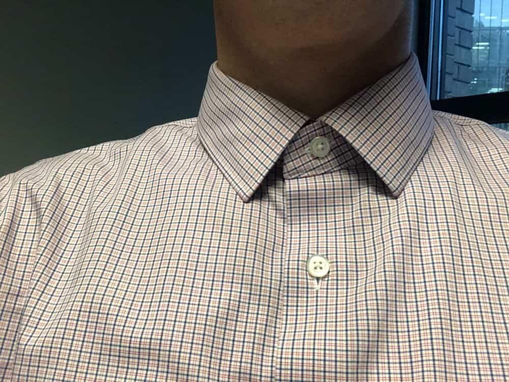 Buttoned up collar on Banana Republic slim fit men's dress shirt