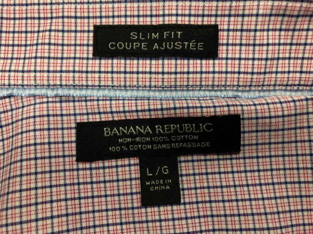 Banana Republic slim fit men's dress shirt label