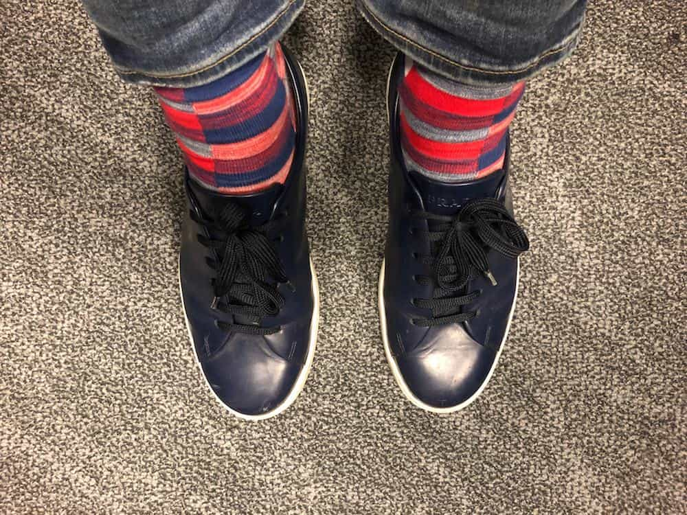 My blue Prada shoes with colorful red socks