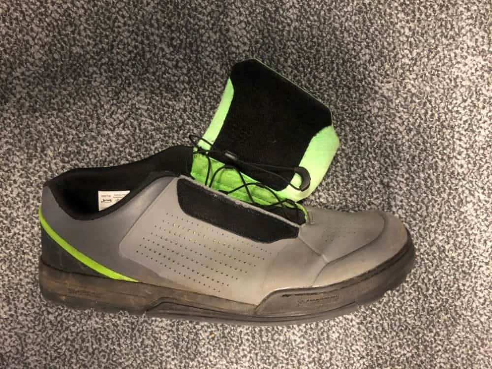 Side view of Shimano GR9 shoe with protective plastic strip at front