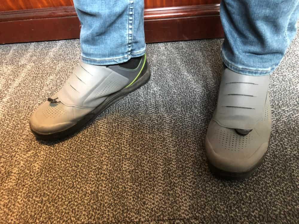 Wearing Shimano GR9 mountain biking shoes