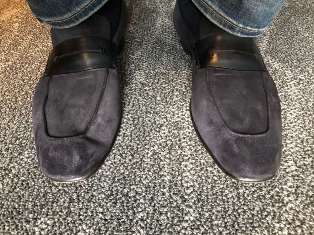 Photo of Ermenegildo Zegna A'Sola loafers worn with jeans