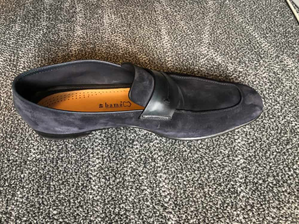 Top inside view of Zegna navy blue loafer