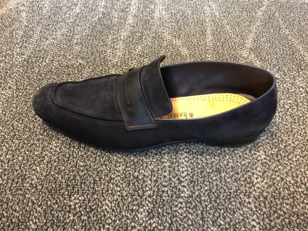 Side top image of blue suede loafer by Zegna