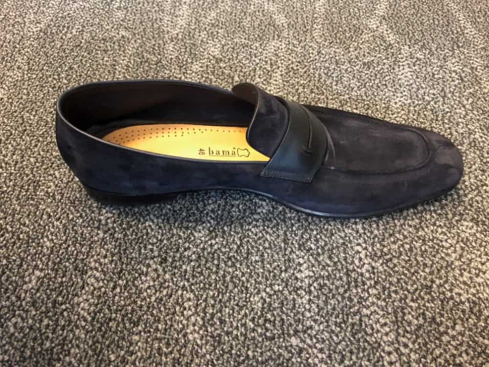 Side view of blue Zegna suede loafer