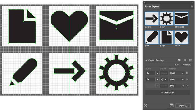 Interface of Adobe Illustrator, displaying simple images made out of basic shapes
