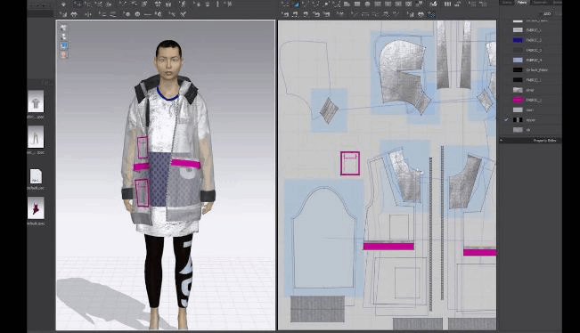 Interface of CLO 3D software, displaying different parts of a jacket and how they fit the silhouette of a man.