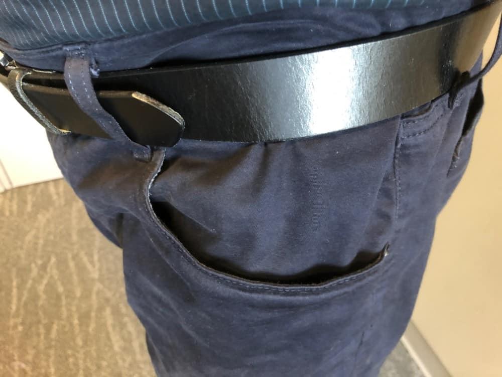 Close up photo of side pocket on AG jeans for men